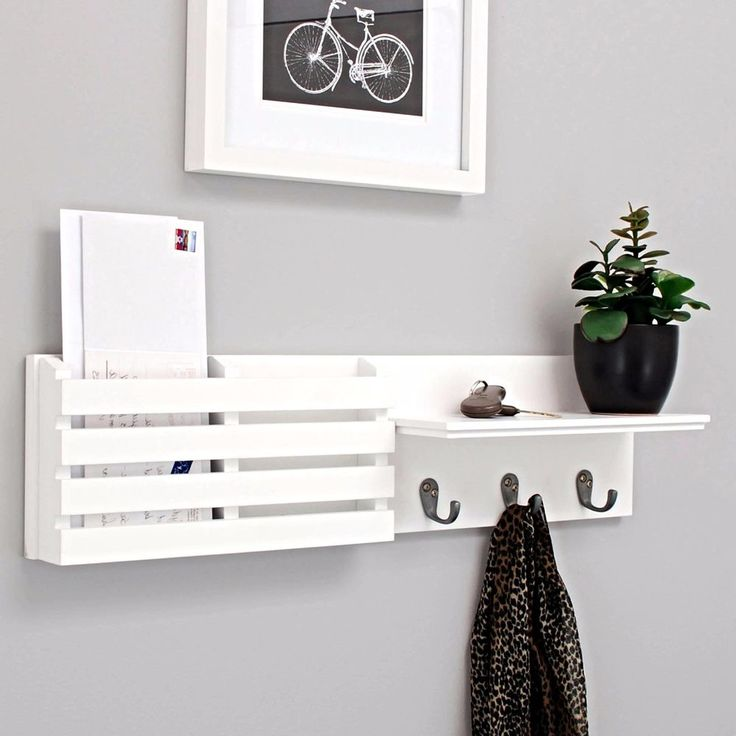 nexxt sydney wall shelf and mail holder with 3 hooks 24 inch by 6 inch white