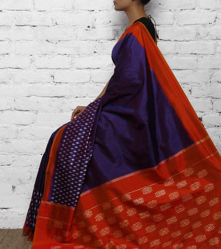 Purple & Orange Silk Ikat Saree