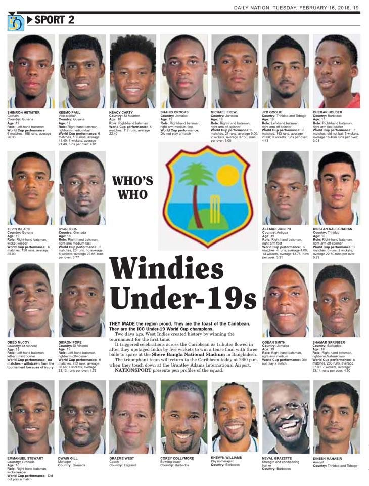 The NATION Newspaper in Barbados @NationBarbados does a special tribute to the World Champions  17-02-2016