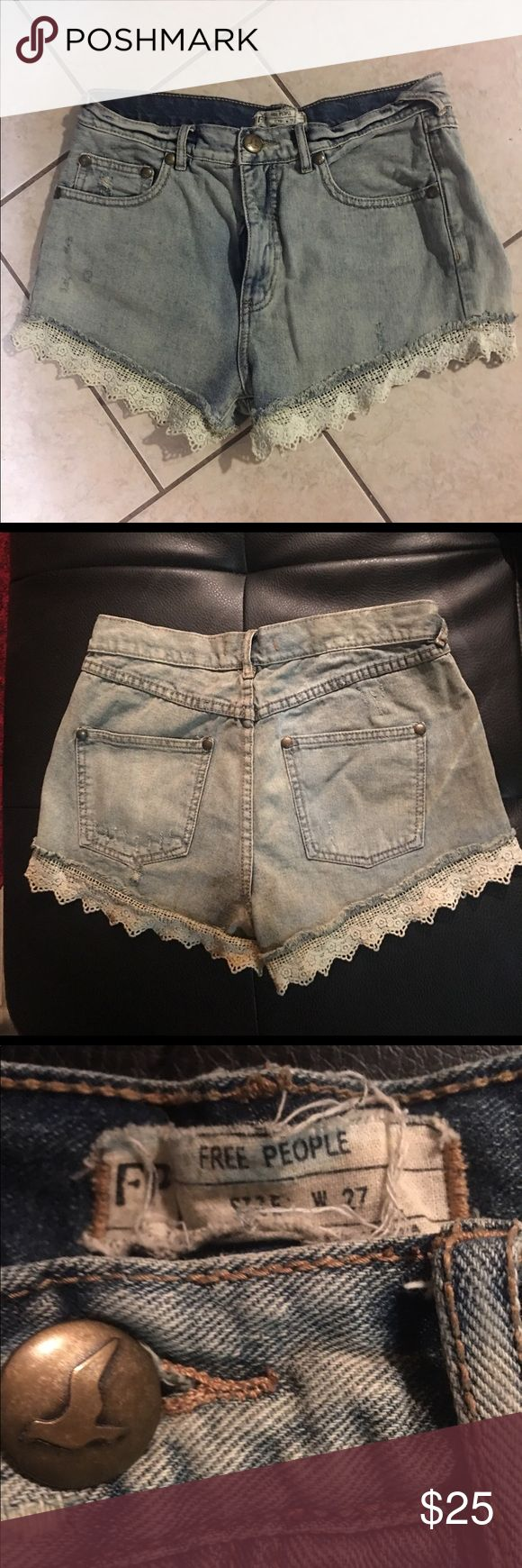 Shorts with lace Hem detail Free People Lace Hem Shorts size 27. Free People Shorts Jean Shorts