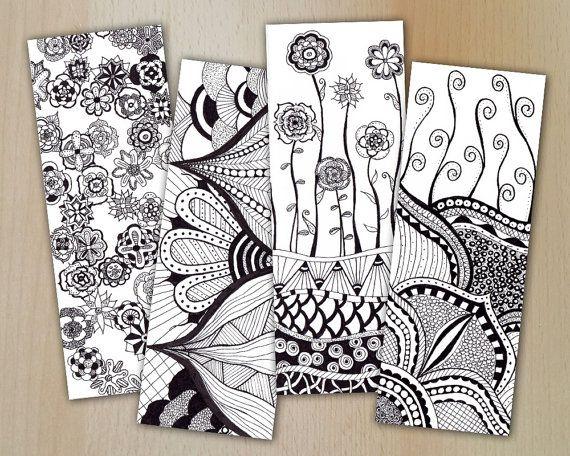 zentangle digital bookmarks  lesezeichen flowers  zum