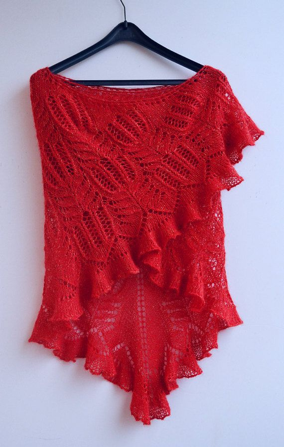 RED rose big  knitted shawl my inspiration unique gifts