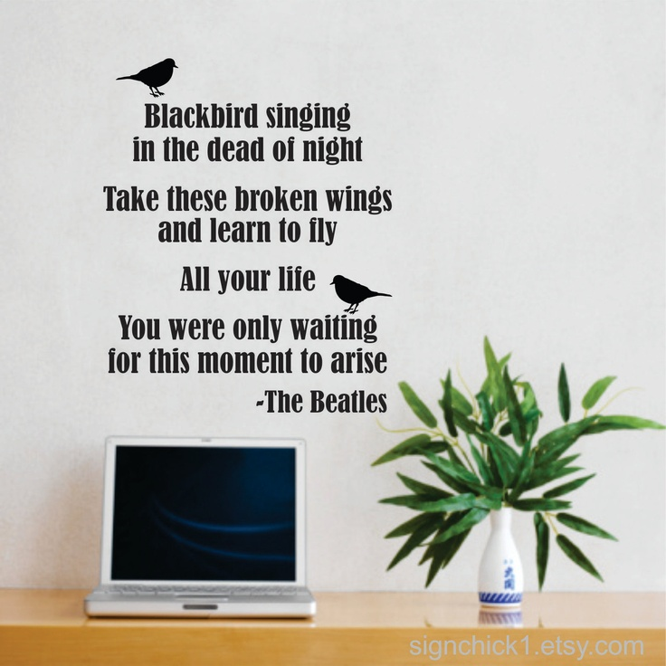 blackbird beatles song lyrics wall decal new design matte aerosmith wall sticker lyrics wall art
