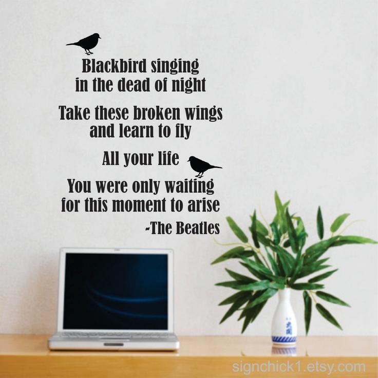 blackbird beatles song lyrics wall decal new design matte aerosmith wall sticker lyrics wall art