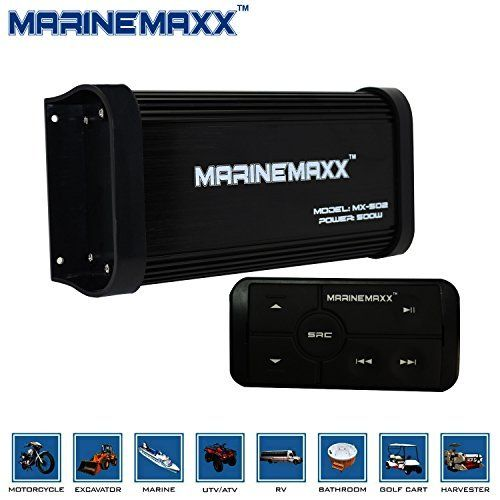 MarineMaxx 500 Watts 4-Channel Class A/B Waterproof Marine Bluetooth Amplifier with Marine Stereo USB MP3 RCA output AUX Input. Fully Marinized 500 W MAX Power, 4 Channel 94 W X 4 RMS @ 4 ohm. Full Range, Class A/B, Aux input, Low Level Inputs, RCA Pre-amp Outputs. Bluetooth Audio Streaming - play music and apps like Spotify/Pandora wirelessly. USB input for Music Streaming, and Phone Charging, Inline Multi-Function Illuminated Remote. Perfectly fit for Boat, ATV, UTV, RZR, Snowmobile...