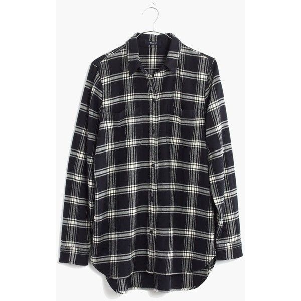 MADEWELL Flannel Ex-Boyfriend Shirt in Rutherford Plaid ($82) ❤ liked on Polyvore featuring tops, true black, black button up shirt, oversized shirt, button up shirts, button-down shirts and black button down shirt