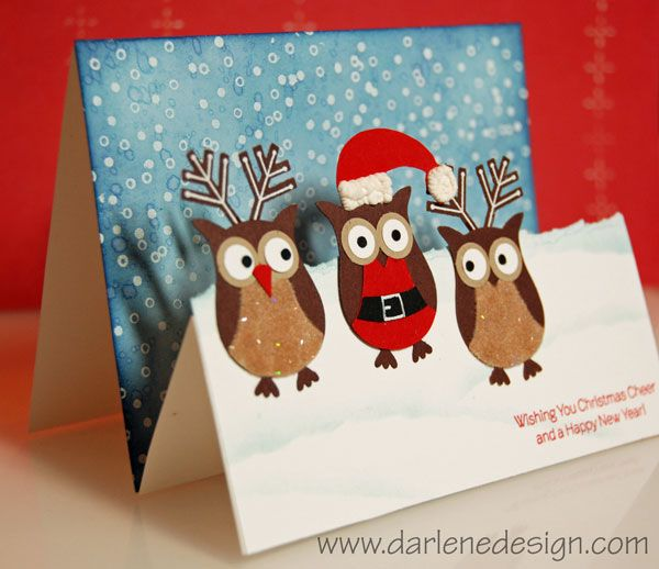 Owl Santa and Reindeer- Great video showing how to make this card
