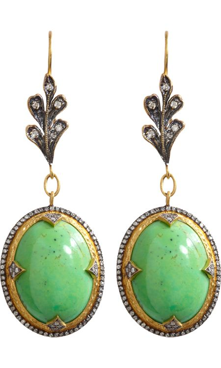 Cathy Waterman Gaspeite & Micropave Diamond Drop Earrings