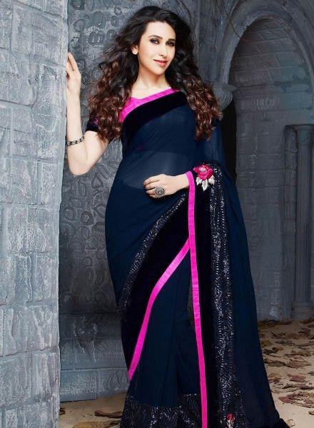 Designer Blue Karishma Kapoor Party wear saree in georgette E15334