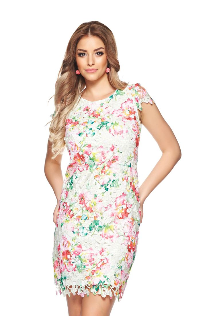 StarShinerS Beautiful Flower Rosa Dress, short sleeves, laced fabric, back zipper fastening