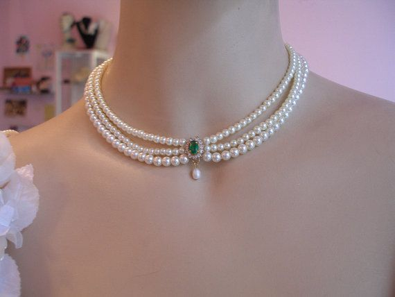 Wedding Necklace BridalChoker Pearls by mylittlebride on Etsy