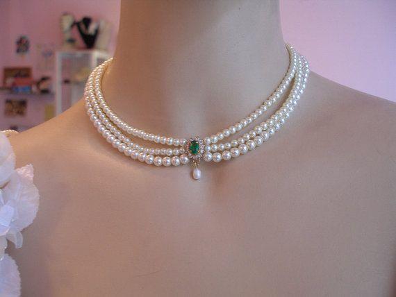Wedding Necklace BridalChoker Pearls by mylittlebride on Etsy