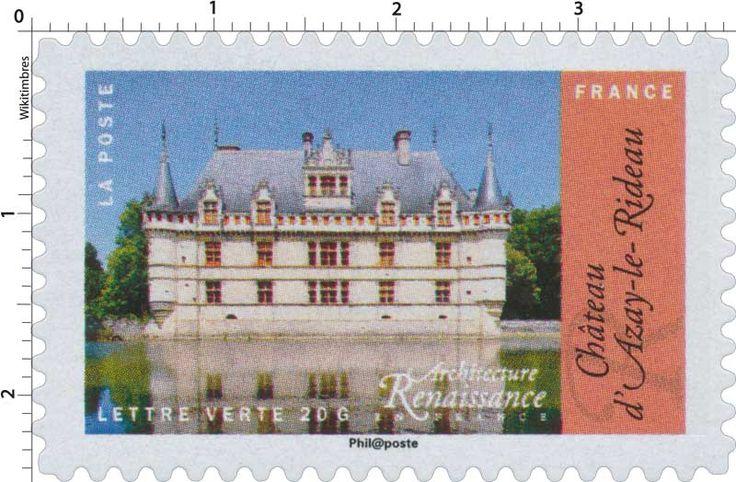 Timbre : 2015 Architecture Renaissance en France - Chateau d'Azay-le-Rideau | WikiTimbres