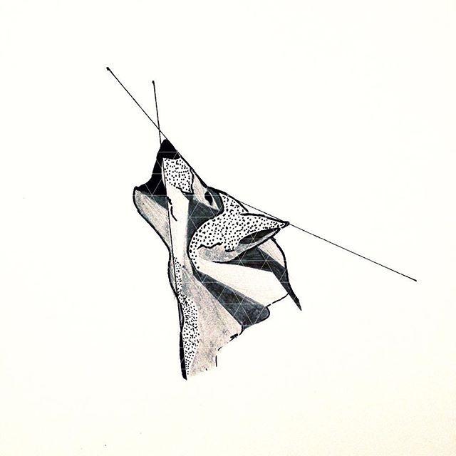 #mulpix Geometric wolf tat #tattoo #tat #sketch #wolf #canine #animal #wolftattoo #small #draw #drawing #art #pen #ink #getinked #howl #bored #linework #geometric