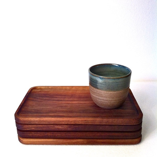 Image of Pepperino Capestrelli Wooden Tray & Shelley Panton Pottery