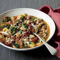 Sausage-and-Broccoli Rabe Stoup, 30-Minute Meals | http://www.rachaelraymag.com/Recipes/rachael-ray-magazine-recipe-search/rachael-ray-30-minute-meals/sausage-and-broccoli-rabe-stoup