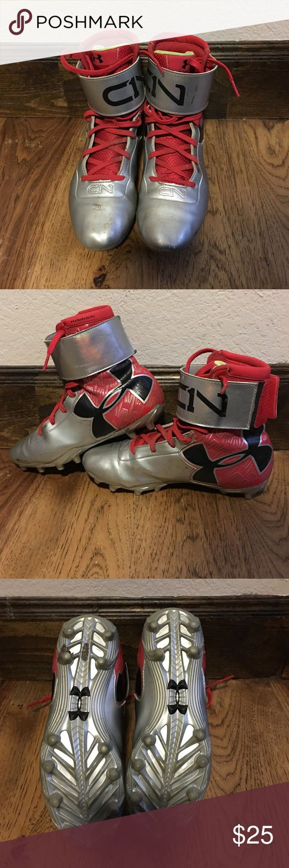 Cam Newton Under Armour cleats. Boys size 4 football cleats. Worn for one season. Great condition. Under Armour Shoes