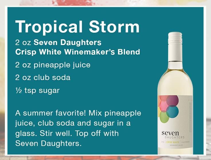 This is one storm we will come prepared for! Try our Tropical Storm Wine Cocktail Recipe.