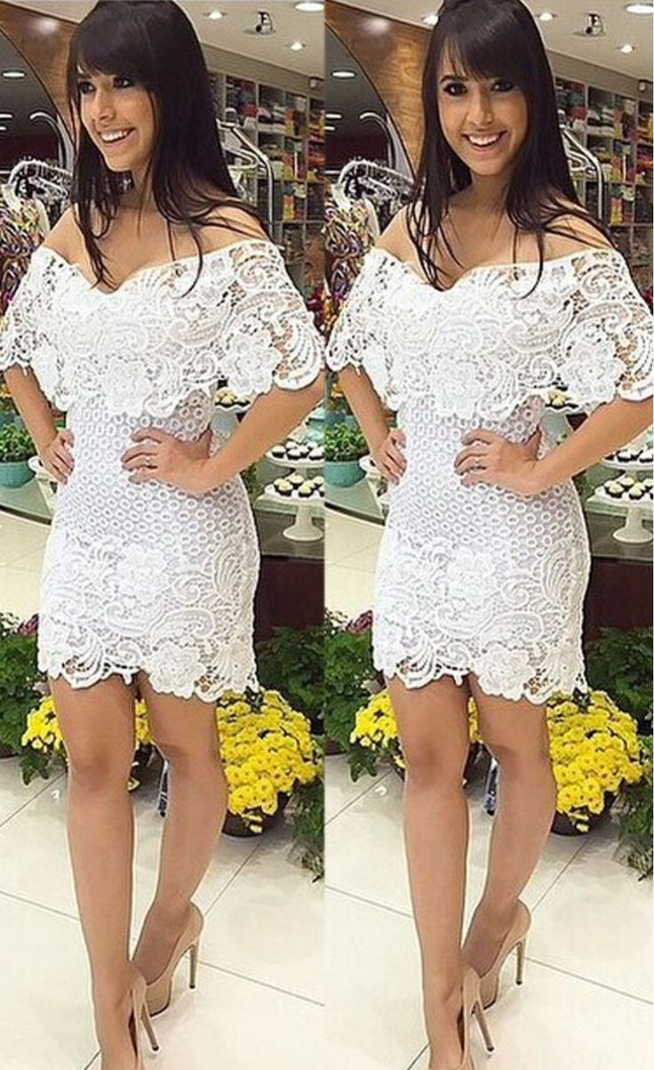 $37.99 Gorgeous Off-shoulder Cover Bust Lace Mini Dress - Stella La Moda