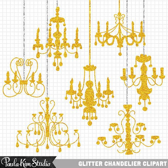 60% OFF SALE Gold Glitter Clip Art Chandeliers Silhouettes Clipart for Wedding Invitations