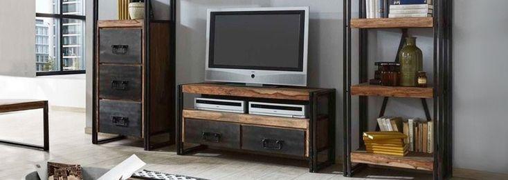 #wandmeubel #TV kast #eiken #metaal #robuust #design #interieur