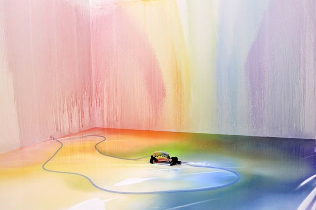 A Multi-Colored Sprinkler Paints On-demand Rainbows: Artists, Edwin Deen, Edwindeen, Rainbows Colors, Child Rooms, Art Design, White Rooms, Liquid Rainbows, Sprays Paintings