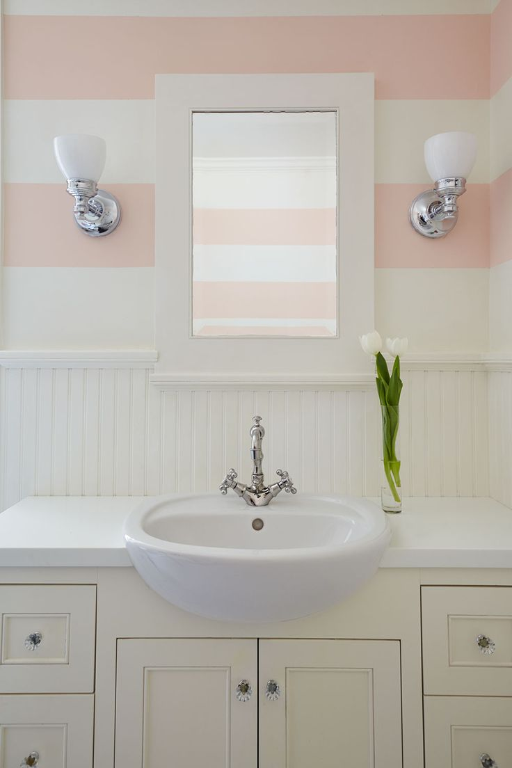 Striped coral wall for girl 39 s ensuite bathroom coral and - How to prepare bathroom walls for painting ...