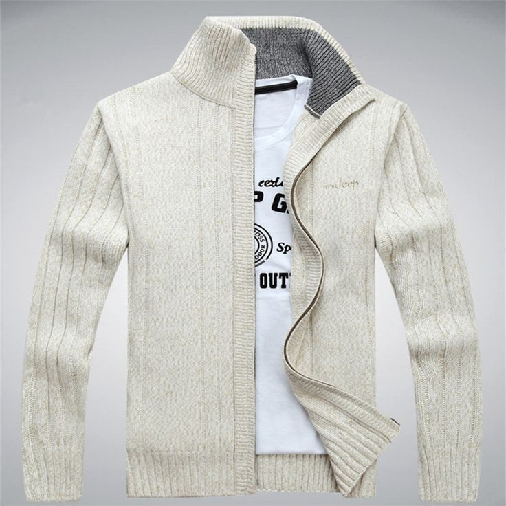 Sweaters  NIANJEEP Wool Men's Cardigans Sweaters Zipper Men's Sweaters Winter Warm Thick Velvet Sweaters Warm Brand Clothing A0369 <3 Detailed information can be found by clicking on the VISIT button