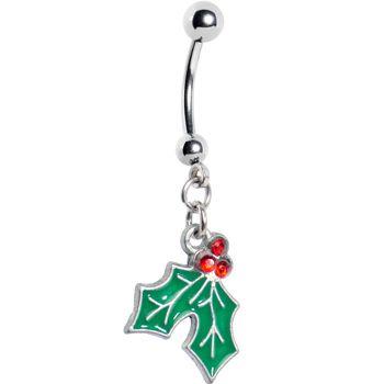 Holiday Mistletoe Dangle Belly Ring