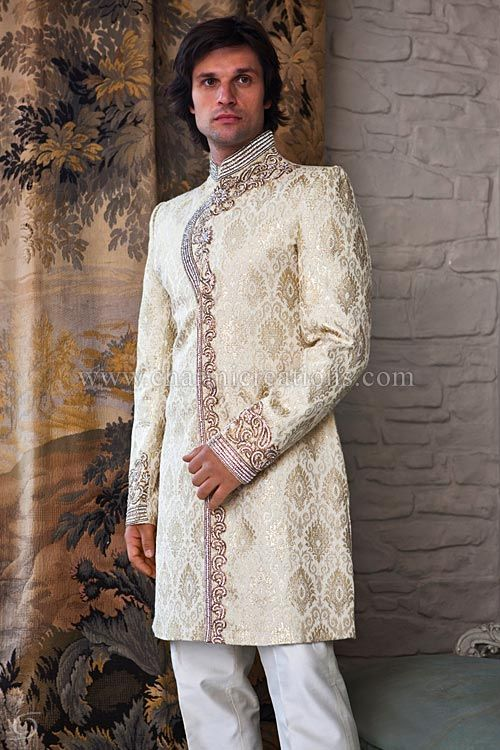 Brocade silk fusion sherwani with diamante and antique gold embroidery with ivory English trousers