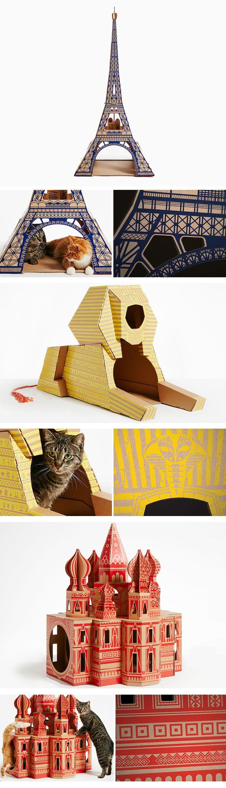 Cat toys // cardboard cat houses // modern cat toys // cat furniture