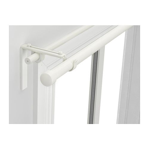 IKEA - RÄCKA/HUGAD, Double curtain rod combination, You can combine two layers of curtains, one thick and one thin, using the double rod.The length is adjustable.