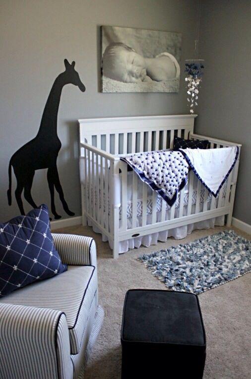 Baby Boy Nursery * love the giraffe and baby pic