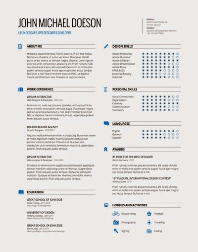 82 best Resume Templates \/ Plantillas images on Pinterest Free - single page resume template