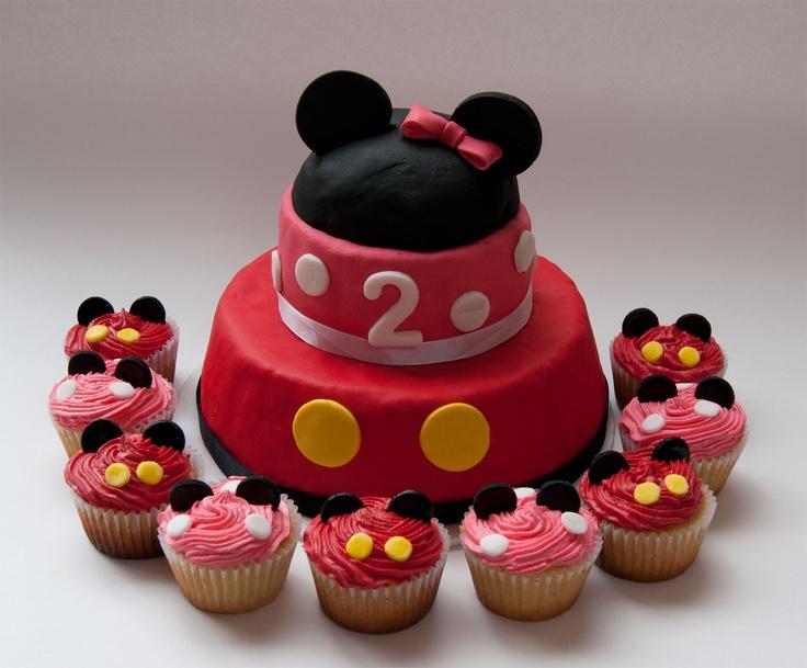 Torta Y Cup Cake Minie Mickey