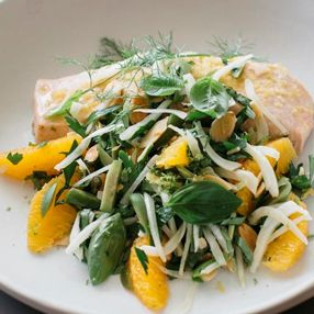 SALMON FENNEL & ORANGE SALAD  With Spring here this dish is a simple, nutritious and zesty way to serve poached salmon - for recipe see Blitz Blog https://blitzactive.com.au/blitz-blog/savoury/salmon-with-fennel-and-orange-salad Feel good, look great - plus size activewear sizes 16-26 Designed & made in Australia #blitzactive #plussizeactivewear #plussizeworkout #plussizefashion #healthyfood #positive bodyimage