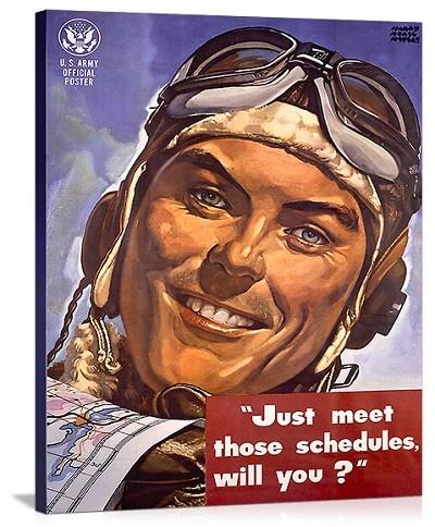 WWII AAF Army Air Corps Vintage Printed On Canvas