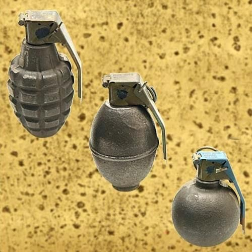 Buy Authentic US GI surplus inert practice grenade set from military surplus online store. Set includes Pineapple, Lemon and Baseball dummy grenades. Each weighs approximately 1 pound. #militarysurplus #grenade