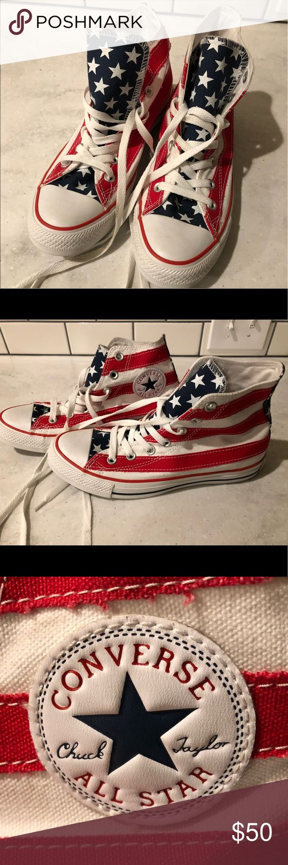 American Flag Converse High Tops American flag converse high tops worn maybe one time around the house. They have sat in a box for three years. These are in brand new perfect condition! Men's-6. Women's-8 Converse Shoes Sneakers
