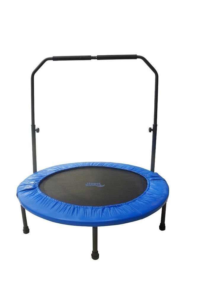 Cardio Rebounder Trampoline Mini Foldable Handrail Fitness Indoor Gym Rebounding