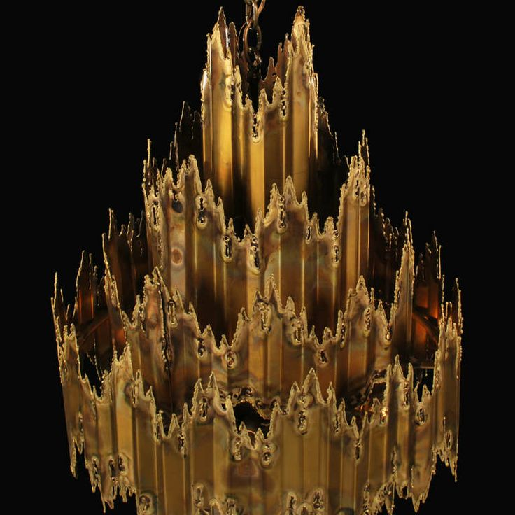 Large Brutalist Chandelier by Tom Greene for Feldman | From a unique collection of antique and modern chandeliers and pendants  at http://www.1stdibs.com/furniture/lighting/chandeliers-pendant-lights/