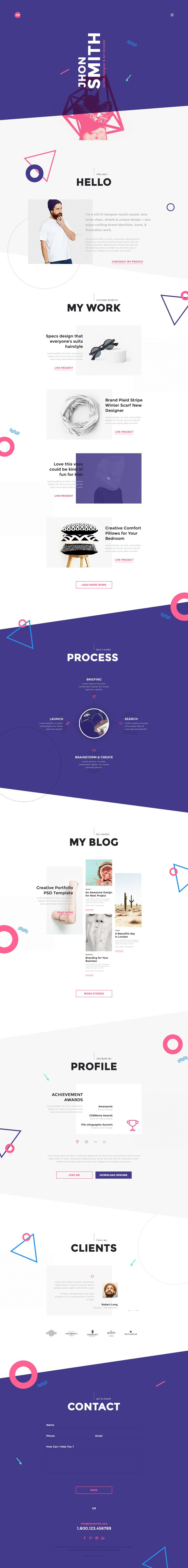 Me is a one page & Multi Pages psd portfolio & CV / Resume templates for Designer, Developer, Freelancer Artist, Photographer & Can be use for Personal Pages.