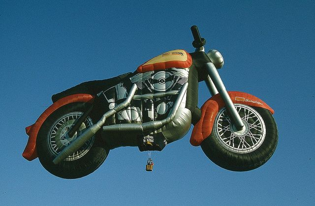 Malcolm Forbes was an avid collector of special shape hot-air balloons  and also a Harley Davidson fan.