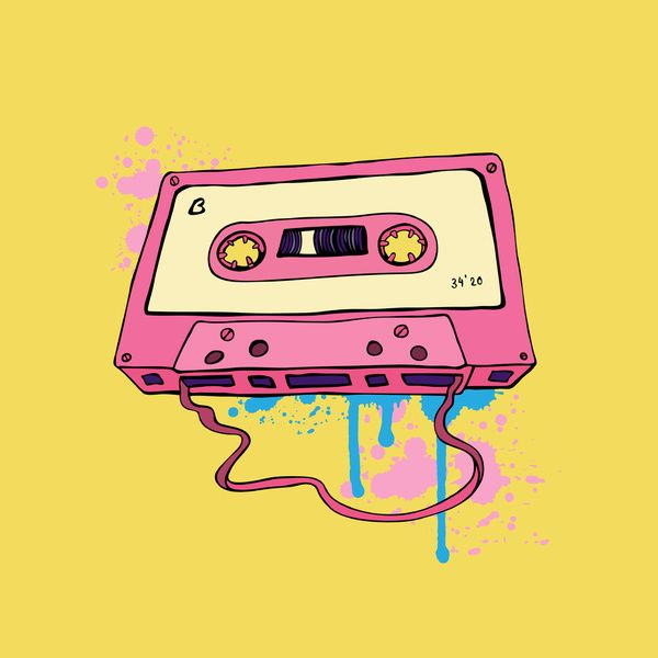 Audio cassette. Oldschool illustration. Retro cassette tape. Art Print by Katyau