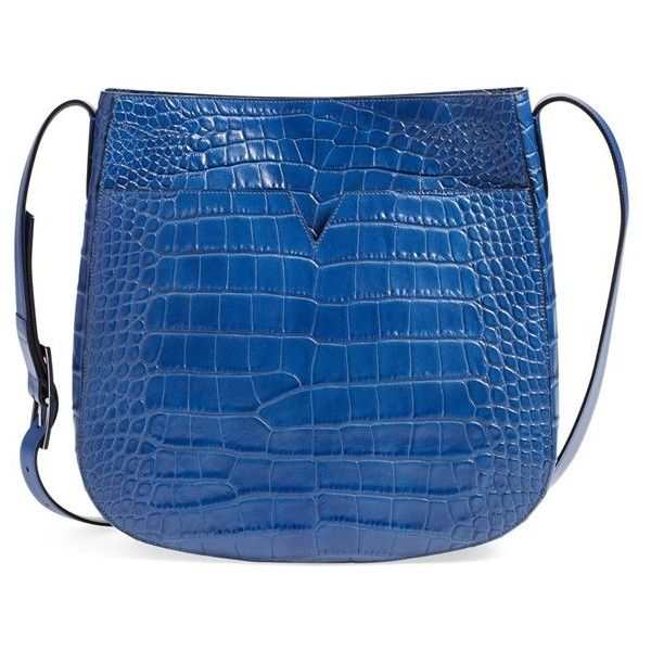 Vince 'Medium' Croc Embossed Leather Crossbody Bag ($495) ❤ liked on Polyvore featuring bags, handbags, shoulder bags, cobalt, leather crossbody handbags, leather cross body handbags, blue handbags, genuine leather shoulder bag and leather crossbody