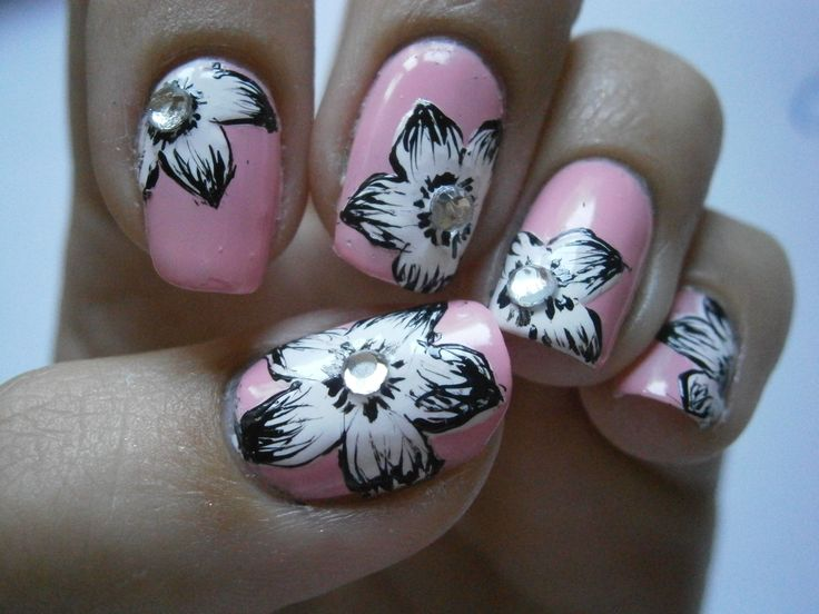 baby pink with simple flowers