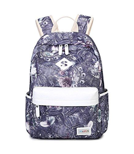 Casche Girls Casual Canvas Painting Backpacks School Book Bag Purple >>> Check out this great product.