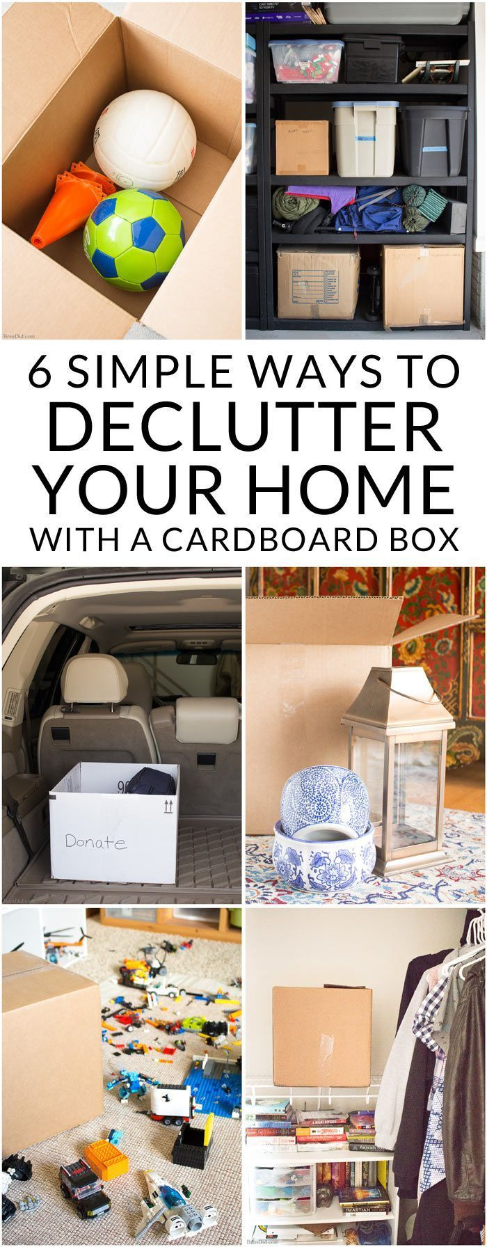 Need to declutter and organize? These easy tips use nothing but a cardboard box to keep your home organized and clutter free. 6 expert tips for decluttering your home from a military spouse who has moved 8 times!