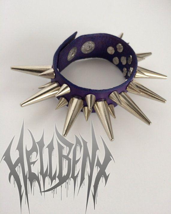 SALE  Hellbent Persephone Purple Spiked Leather Bracelet