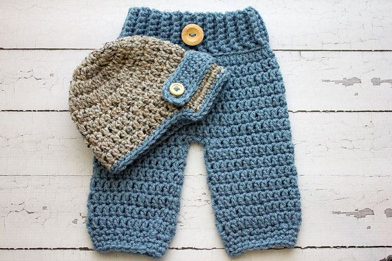 Crochet Patterns For Baby Boy Outfits : Crochet Newborn baby boy Newsboy Hat and pants set, PHOTO ...